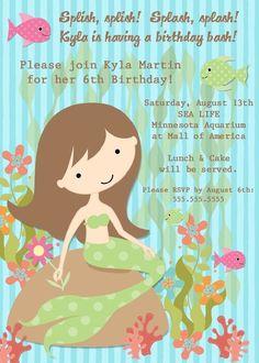 Mermaid Birthday Party Invitation  Printable by PhotoGreetings, $15.00