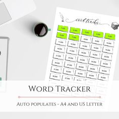 Word Tracker Editable PDF   Etsy Bullet Journal Inserts, National Novel Writing Month, Reading Tracker, I Shop, My Etsy Shop, How To Stay Motivated, As You Like, Novels, Pdf
