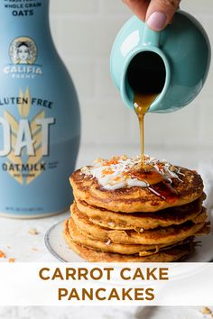 Nothing like a stack of pancakes on a lazy weekend morning. These vegan carrot cake pancakes call for simple ingredients and feature hidden veggies for the kids (and adults? Stack 'em up and enjoy. Carrot Cake Pancakes, Vegan Carrot Cakes, Vegan Pancakes, Vegan Cake, Pancake Cake, Yummy Snacks, Yummy Treats, Yummy Food, Cake Recipes
