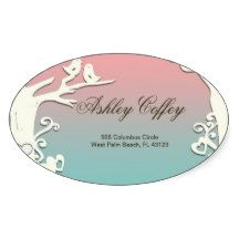 Love Birds Forever on Pastel Pink & Blue Oval Sticker