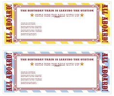 Free Printable Train Ticket Invitations: Http://www.cakeeventsblog.com/