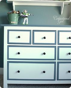 painted hemnes dresser (ikeahacker via centsational girl).... Put shelf for trophies  On gymnastics wall