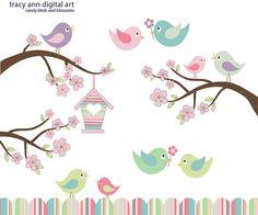 Pastel de dulces pájaros y árboles de cerezo por TracyAnnDigitalArt