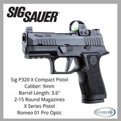 Sig 320 X Compact Pistol With Romeo 1 Pro Optic, Flat Trigger & Round Magazines Weapons Guns, Guns And Ammo, Shotguns, Firearms, Sig 320, Tactical Solutions, 1911 Pistol, Shadow 2, Sig Sauer