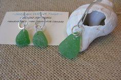 Irish green sea glass jewelry, atlantic canada seaglass jewelry set, SeaglassWithATwist by SeaglassWithATwist on Etsy