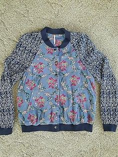 Free People Blue Floral Bomber Jacket Snap Closure Medium New With Tags