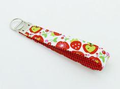 Sweet Strawberry Key Fob Wristlet Fabric Keychain by ZestyNotion, $6.00