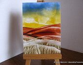 #ACEO Hills and Valleys - Encaustic (Wax) #Original Painting - Rust Brown, Yellow, Blue. Miniature Art. SFA (Small Format Art) aboundingtreasures at Etsy.com