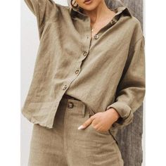 Linen cotton material casual long sleeve button down blouse for a casual look fits daily life or work Shirts & Tops, Shirt Blouses, Cotton Shirts, Casual Tops, Casual Shirts, Color Negra, Types Of Sleeves, Blouses For Women, Long Sleeve