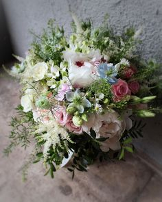 Elayne's Spring wedding bouquet with festiva maxima and shirley temple peonies, sweet Avalanche, blue Nigella, phlox, astilbe, daisies, Lisianthus and lavender Peony Bouquet Wedding, Bridal Bouquets, Wedding Flowers, Astilbe, White Peonies, Nigella, Daisies, Spring Wedding