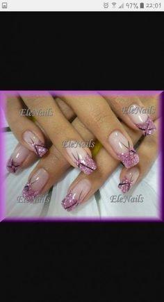 Nagel Kunst - Schönheit - New Ideas Pink Nail Art, Glitter Nail Art, Cute Acrylic Nails, Cool Nail Art, Cute Nails, Pretty Nails, Marble Nail Designs, French Nail Designs, Simple Nail Art Designs