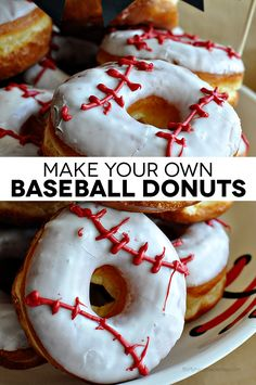 Make your own baseball donuts- so cute and easy to make. Perfect for snack, team party or birthday party! (blue cupcakes for boys) Baseball Birthday Party, Sports Birthday, Birthday Parties, Birthday Banners, Sports Party, Birthday Ideas, Softball Party, Theme Parties, Kids Baseball Party