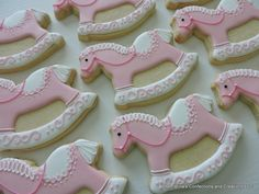 Hand Decorated Rocking Horse Sugar Cookies  Party Favor by 3CSC