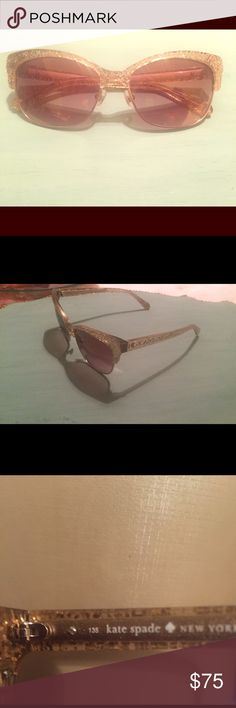 Kate Spade New York gold glitter sunglasses Shira glittery cat-eyed sunglasses perfect condition like new kate spade Accessories Sunglasses