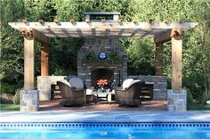 Fireplace And Pergola  Pergola and Patio Cover    Far Hills, NJ.