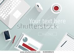 Set of Flat vector design illustration of modern business office and workspace. Top view of desk background