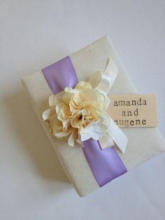 Custom Wedding Album - Ivory Hydrangeas, Lavender Purple Ribbon, Ivory Ribbon Bow - Handmade, Hand Stamped Bride and Groom's Names
