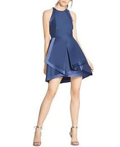fc22bb1cc7e Halston Heritage Layered Fit-and-Flare Dress - Navy Structured Dress