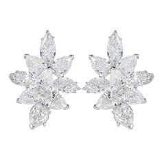20 Carat Fancy Shape Diamond Platinum Cluster Earrings | From a unique collection of vintage stud earrings at https://www.1stdibs.com/jewelry/earrings/stud-earrings/