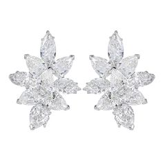 20 Carat Fancy Shape Diamond Platinum Cluster Earrings | From a unique collection of vintage stud earrings at https://www.1stdibs.com/jewelry/earrings/stud-earrings/