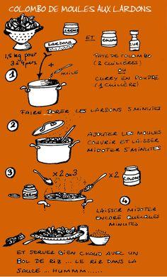 Tambouille - Colombo de moules aux lardons Pop Up Restaurant, English Food, Food Illustrations, Mousse, Cooking, Health, Illustrated Recipe, Food, Recipes