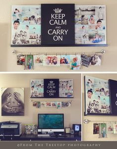 Inspiration board display which uses several trends-shelves, typographical statement, photo collage, canvas or poster sizing, and  a clothesline for smaller items. Interchangeable and multi-purpose!!