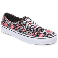 Vans Authentic Black Multi Floral Sneakers (140 BRL) ❤ liked on Polyvore featuring shoes, sneakers, vans, zapatos, sapatos, black shoes, floral-print shoes, flower print sneakers, black trainers and floral print sneakers