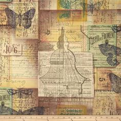 Tim Holtz Eclectic Elements Melange Multi from @fabricdotcom  Designed by Tim Holtz, this cotton print is perfect for quilting, apparel and home decor accents.  Colors include yellow, mauve, pewter, cream, navy, green, and chocolate.