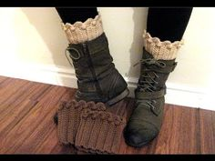 How to crochet a boot cuff, sock topper for boots - YouTube