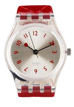 Strawberry Jam by Swatch. Made of plastic and leather strap.
