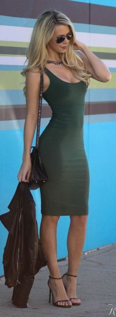 Army Green Body-con Little Dress