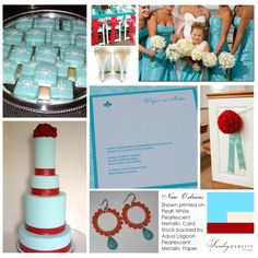 New Orleans invitation - turquoise and red wedding inspiration