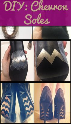 DIY: Chevron Soles (not sure if I would like these, but pinning to remind myself to try adding designs to soles to upcycle old heels. Diy Fashion, Fashion Shoes, Runway Fashion, Fashion Trends, Women's Pumps, Shoes Heels, Louboutin Shoes, Shoe Makeover, Red Bottom Shoes