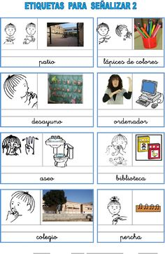 Etiquetas_aula_2 Sign Language For Kids, Signs, Tea, Children, Life, Audio, Sign Language, Spanish Vocabulary, Deaf Culture
