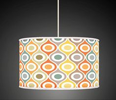 Mustard Grey Orange Retro Geometric Handmade Giclee Style Printed Fabric Lamp Drum Lampshade Floor or Ceiling Pendant Light Shade 560 Glass Pendant Shades, Drum Pendant, Chandelier Shades, Ceiling Pendant, Pendant Lighting, Fabric Lampshade, Lampshades, Lustre Metal, Table Led