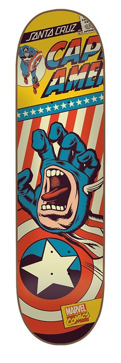 Santacruz: 8.26in x 32.04in Marvel Captain America Hand  Deck