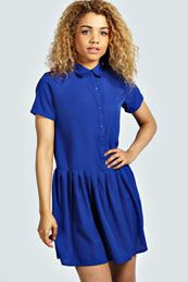 Lucy Drop Waist Shirt Dress Boohoo