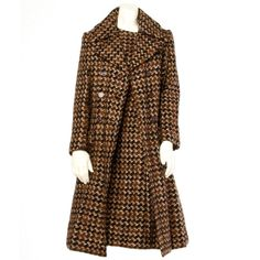 Adele Simpson Vintage 1960's 60s Houndstooth Brown Wool Coat   Dress 2-Pc Set | From a collection of rare vintage suits, outfits and ensembles at https://www.1stdibs.com/fashion/clothing/suits-outfits-ensembles/