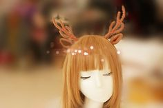 Long Antlers Headband, Wool knit Wrapped Deer Headband, Animal costume hair accessories,  forest themed coordinates