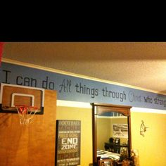 Scripture for sports themed bedroom....LOVE!! SO doing this in Christian's room!!