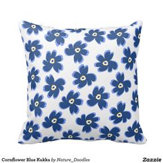 Cornflower Blue Kukka Throw Pillow