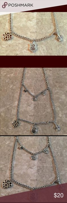 "New Juicy Couture SILVER TONE 30"" fashion necklace THIS IS A JUICY COUTURE  CHAIN NECKLACE WITH CHARMS ON IT.  