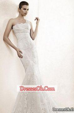 Prety Lace Trumpet Mermaid One Shoulder Chapel Train Wedding Dress with Ruffles #shopsimple #weddingdress #weddinggowns
