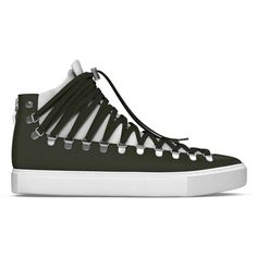 Myswear 'Redchurch' hi-top sneakers ($605) ❤ liked on Polyvore featuring shoes, sneakers, black, black high tops, lace up shoes, snake print sneakers, black high top shoes and black shoes