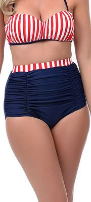Unique Vintage Red White & Blue High Waist Bikini Bottoms #uniquevintage