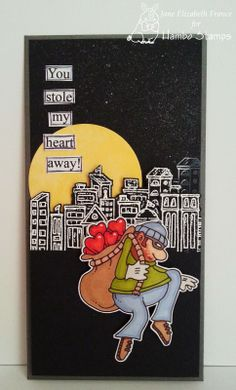 thief of hearts digi image and skyline rubber stamp, both from hambo stamps, card by Jane Elizabeth France