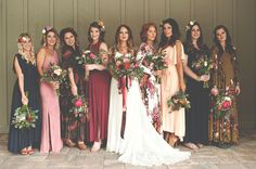 Bridesmaids in floral print + jewel tone dresses