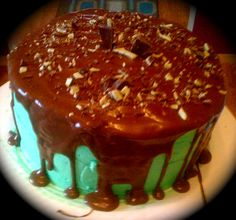 Chocolate cake andes mint filling and cream de menthe frosting covered in an andes mint ganache!
