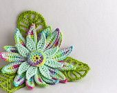 Crochet Brooch Irish Crochet Pin Daisy Pink Yellow Green. $20.00, via Etsy.