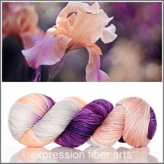 """100 Likes, 4 Comments - Expression Fiber Arts (@expressionfiberarts) on Instagram: """"Beautiful new colorway today! Zing dewy dk yarn. A lovely pop of purple, peach and silver tones. So…"""""""
